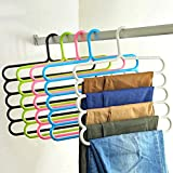 #8: TiedRibbons Multilayer Multipurpose Hanger for clothes Wardrobe Trousers jeans pants girls dresses kids clothes towelsSpace saver( 1 piece, Random Colors)