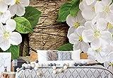 Blumen Auf Rustikale Holzstruktur Vlies Fototapete Fotomural - Wandbild - Tapete - 368cm x 254cm / 4 Teilig - Gedrückt auf 130gsm Vlies - 2002V8 - Blumen-Vintage, Vintage, Retro &