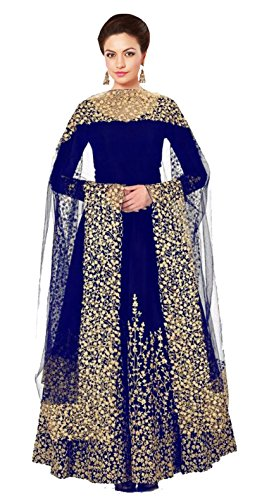 Clickedia Women\'s Heavy Tapeta Silk Embroidered Semi-stitched BlueFloor length Anarkali Suit - Dress Material