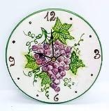 Orologio da muro Linea Uva Ceramica Cucina Linea Frutti Misti Realizzato e Dipinto a mano Le Ceramiche del Castello Made in Italy Dimensioni 21 centimetri diametro