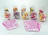 Süßes Shop Party Pack von Britten & James®. 10 Kristallklare Plastikdosen mit Schraubdeckeln im viktorianischen Stil. Ideal für Hochzeitstische, Partys, Geburtstage. 100 kostenlose Taschen.