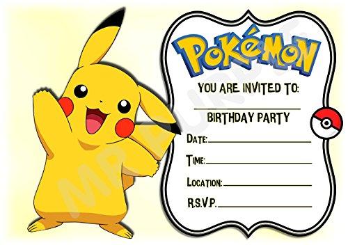 Pokemon Geburtstagsparty-Einladungen – Querformat Rahmen Pikachu Waving Design – Partyzubehör/Zubehör (Packung mit 12 Einladungen) WITH Envelopes