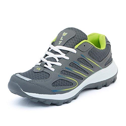 Asian Men's Dark Grey & P.Green Mesh Bullet Range Running Shoes (B02s8cDGPG)- 8 UK