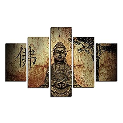 XrsArt 5 Panel printed summary Buddha painting canvas wall art decoration Buddha Buddha image to living room (unframed) FCa43 50 inch x30 inch