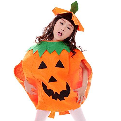 Imagen de free fisher cosplay disfraz de calabaza halloween para niño, niña, traje + sombrero, altura 100 150 cm