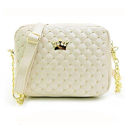 Princess 22x16 cm Schultertasche Handtasche für Damen und Mädchen mit Goldener Krone und Barockmuster Weiß