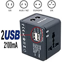MAXAH® Adattatore Universale da Viaggio /Tutto in uno adattatore /All-in-One Universal World Wide/Travel Adapter con indicatori accensione e 2 USB ---2.1 A (Nero)