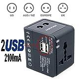 MAXAH® enchufe de EU UK US AU (150 países) Adaptador de viaje Reisestecker Worldwide Cargador Universal AC Power 2 USB 2.1 todo en uno universal Mundi
