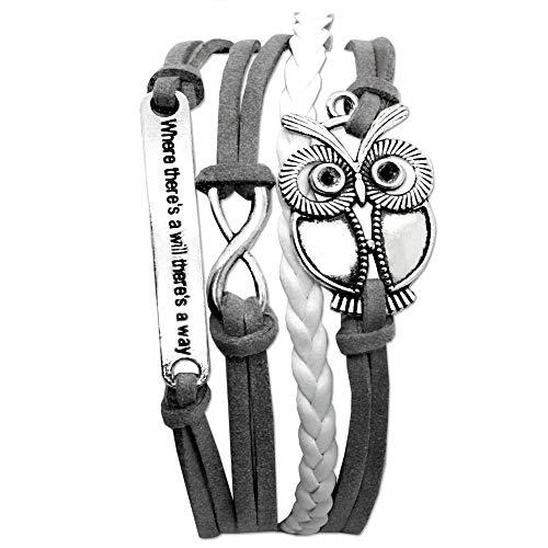tumundo Wickel-Armband Arm-Schmuck Armkette Damen Accessoires Herz Eule Anker Strass Glitzer Anhänger Vintage Surfer, Modell:Modell 3