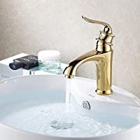 sbwylt-antique rame, Lavabo Rubinetto caldo e freddo, l' oro rubinetti rubinetto bocca, doppio