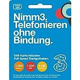 Nimm3 - die Wertkarte von Drei. Österreich, SIM Karte (SIM, Micro-SIM, Nano-SIM), inkl. Telefonie-Startguthaben (1.000 Minuten, 1.000 SMS, 4GB  LTE) ODER inkl. Internet-Startguthaben (10 GB LTE ) – jeweils um 15 € und 30 Tage lang gültig. Günstige Top-Tarife mit LTE-Geschwindigkeit und hochwertigem Service