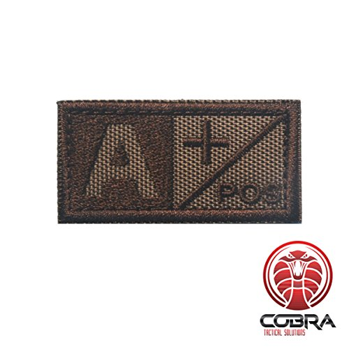Cobra Tactical Solutions Patch ricamo military tipo sangue A POS Velcro marrone per softair/paintball per zaino tattico, abbigliamento.