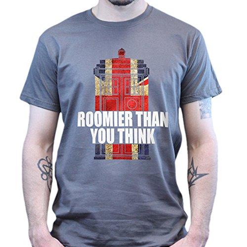 Tardis Roomier Than You Think Dr Matt Smith Who T-shirt Dunkelgrau