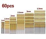 Cymax 60 Pezzi Punte Per Trapano Micro Punte Metrico HSS Ad Alta Velocit in Acciaio Punte 1/ 1.5/ 2/ 2,5 / 3/ 3,5 mm Drill Set Strumenti Multi Pack