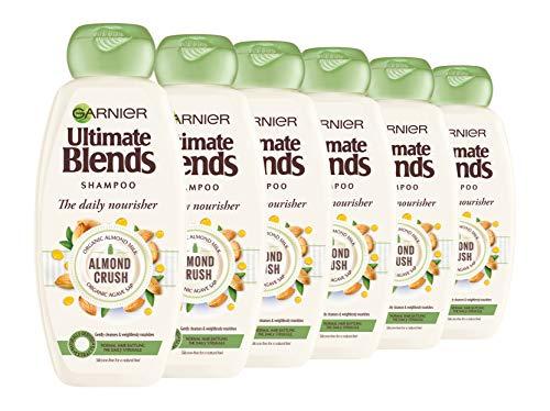 Ultimate Blends Garnier Lot de 6 shampooings pour cheveux normaux au lait d'amande et à la sève d'agave 360 ml