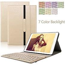 Dingrich Samsung Galaxy Tab 10,1 caja para teclado, Premium Slim Galaxy Tab A de 10,1 pulgadas, Carcasa de Piel Sintética, Funda con función atril de despertador automático, caja protectora de teclado inalámbrico Bluetooth de aluminio con iluminación de fondo magnéticamente desmontable para Samsung Galaxy Tab A, Tablet de 10,1 pulgadas (SM-T580/SM-T585) con protector de pantalla y lápiz capacitivo dorado Samsung Galaxy Tab A 10.1