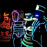 AUDEW 1M x 5 diversi colori Neon Wire EL ghirlanda cavo con brillante Elettroluminescente Mucchio Per Box sera, partito, Matrimonio, Automobile / Ditta (Bianco + Rosa + Rosso + Verde + Blu)