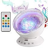 Lámpara Proyector, Proyector de Luz Océano Nocturna para 12 LED y 7 Modos, Luz del Sueño con...