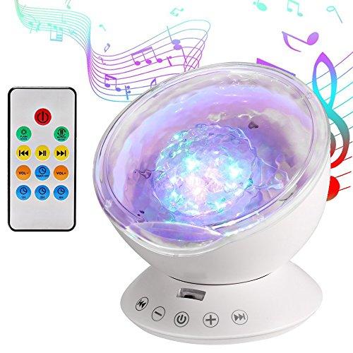Luce proiettore, lampada proiettore oceano onda, lampada notturna 7 modalità e 4 tipi di musica, luce notturna per bambini rilassarsi e addormentarsi, per festa compleanno halloween natale (bianco)