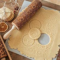 Altsommer Newest Christmas Rolling Pin,Christmas Rolling Pin Engraved Carved Wood Embossed Rolling Pin Kitchen Tools (Yellow)
