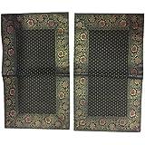 Boho Chic 2decorativa sari de seda rectangular funda de almohada vintage almohadas, 30x 20(verde)