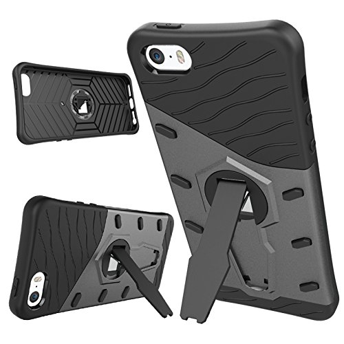 iPhone Case Cover 2 en 1 Nouveau Armor Tough Style hybride Dual Layer Armor Defender PC Hard Cases avec support Housse antichoc pour iphone 5S SE ( Color : Gold , Size : Iphone 5S SE ) Black