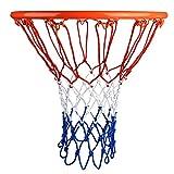2pcs Profi Basketball Netz Set 4mm Nylon Basketball Ersatz Netz Dauerhaft und jedes Wetter Ballnetz Für Standard Größe BasketballKorb 12 Loch Ersatznetz für Outdoor Sports Basketball Training Rot + Weiß + Blau