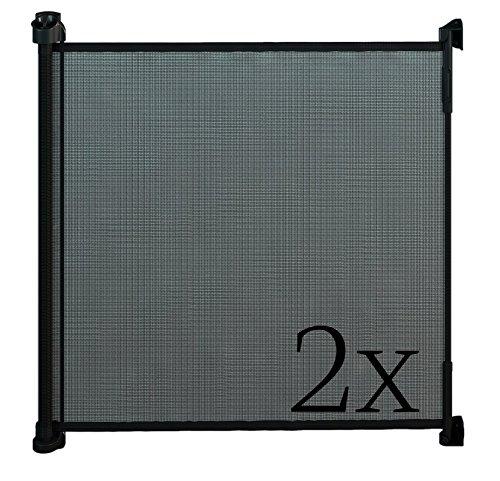 Gaterol Active Lite Schwarz Doppelpack - Zwei ausziehbare Treppenschutzgitter und Türschutzgitter Rollo bis 140 cm -