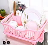RKPM 3 IN 1 Kitchen Sink Dish Drainer Drying Rack Washing Holder Basket Organizer Tray 45 x 30 x 18 CM(Pink)