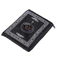 Portable Black Color Muslim Prayer Rug with Compass Pocket Size Prayer Mat ompass Qibla finder