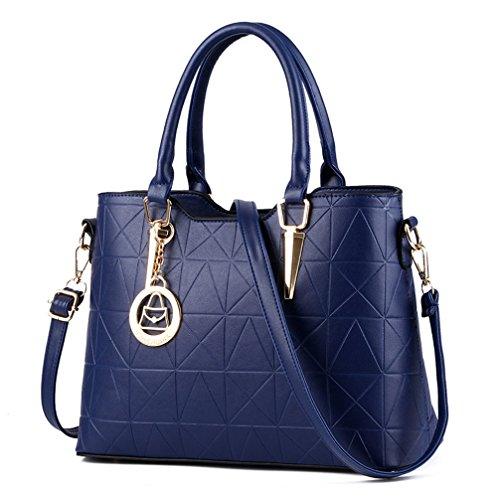 Bopopo Frauen-beiläufige Handtasche PU-lederner Art- und WeiseTote-Schulter-Beutel Grau Blau