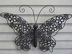 Decorative butterfly wall art with openwork flower design wings for the garden or conservatory