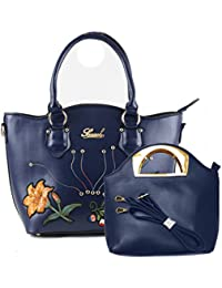 Pablo Pu Leather Floral Embroidery Hand Bag-Blue