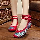 &QQ Chaussures brodées, semelles tendineuses, style ethnique, chaussures en tissu féminin, mode, confortable, décontracté dans l