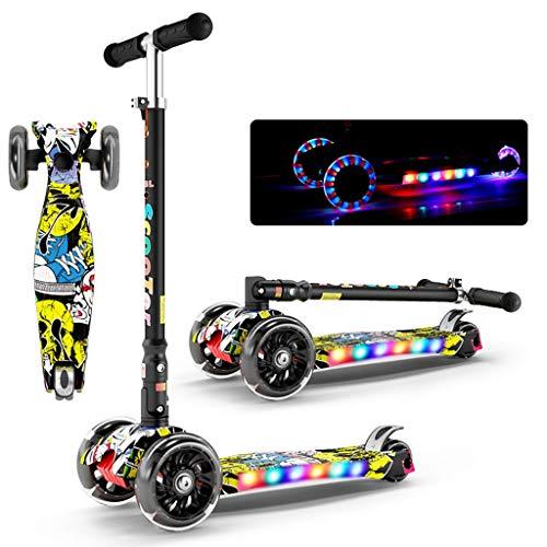 WYQ Kinder Roller globber, Tretroller klappbar, verstellbare Griffe mit breiter Plattform, blinkende Räder aus PU (Farbe : A, größe : 56cm × 24cm × 85cm) - Breite Plattform