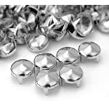 100 Pcs Silver Tone Metal Punk Round Cone Studs Rivet For Bag Leathercraft Decor DIY