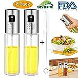 Dispensador de Pulverizador de Aceite 2 Pcs Oil Sprayer 100 ML Vinagre /Aceite de oliva de Acero Inoxidable Botella de Vidrio para Herramienta de Cocina cocinar +Pequeño cepillo libre(2 Paquetes