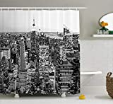 Abakuhaus Duschvorhang, Panorama von Manhattan Hohen Gebäuden des Stadt Berühmten Monuments Usa Schwarzweiss Foto Druck, Blickdicht aus Stoff mit 12 Ringen Waschbar Langhaltig Hochwertig, 175 X 200 cm