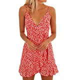 HCFKJ 2018 Mode Damen Frauen Sommerkleid Riemchen Ärmellos Druck Casual Beach Party Dress Kleid (XL, Rot)