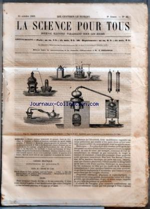 SCIENCE POUR TOUS (LA) [No 46] du 15/10/1863 - CHIMIE PRATIQUE INDUSTRIELLE ET AGRICOLE - SUITE DE L'AIR - L'EAU PAR G. JOUANNE - NATURE ET FONCTIONS COSMIQUES DES AGENTS IMPONDERABLES PAR DR OLIVIERI - REVUE DES PROGRES AGRICOLES ET HORTICOLES - SUR LES DECOUVERTES DE M. G. VILLE ET DE HOOIBRENCK - MOYEN D'OBTENIR UNE SECONDE RECOLTE DES ASPERGES PROGRES DE L'HORTICULTURE, ETC., ETC., PAR D. NOUCHET - LE MASCARET PAR CH. GAILLARD - FAITS SCIENTIFIQUES ET INDUSTRIELS - UN JARDIN D'ACC