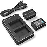RAVPower Camera Battery of Sony NP-FW50 ( 2-Pack Replacement Batteries, Micro USB Input Charger, Versatile Charging Option, 1100mAh, 100% Compatible with Original ) - Black