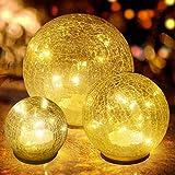3er Set Glaskugel LED Tischlampen Kugel Lampen Batterie Warmweiß Nachttischlampe Moderne Innenausstattung pur Wohnzimmer Schlafzimmer Kinderzimmer Garten