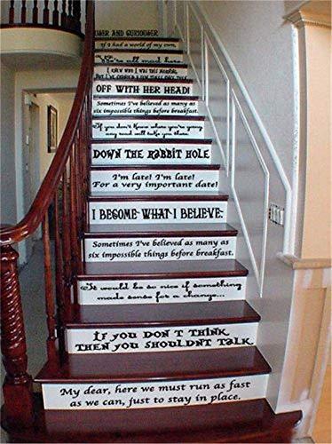 wandaufkleber küche fliesen Alice im Wunderland Geschichte Buch Zitat Set Vinyl Treppe oder Wandtattoos Cheshire Mad Hatter Storybook