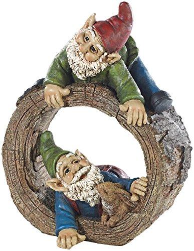 Royal Gardineer Gartenzwerg-Duo mit Häschen im Baumstumpf, handbemalt