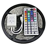5M LED RGB Leuchtstreifen Lichtsets Leuchtbänder 5050 SMD 44KEY Fernbedienungskontrolle Schneidbar Abblendbar 12V IP65 Verbindbar Selbstklebend