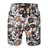 Troncos de baño para hombreCute Dog Collection Mens Print Beach Shorts Quick Dry Summer Casual Athletic Board Shorts Surfing Shorts with Lining