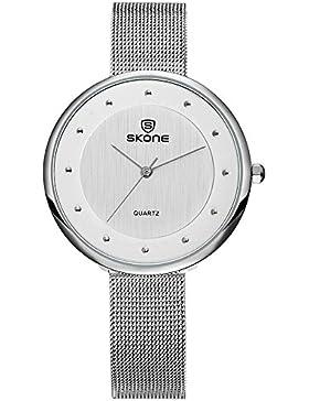 XLORDX Classic Damen Quarz Armbanduhr elegant Quarzuhr Uhr modisch Zeitloses Design klassisch Silber Edelstahl...