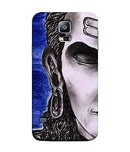 PrintVisa Designer Back Case Cover for Samsung Galaxy S5 Neo :: Samsung Galaxy S5 Neo G903F :: Samsung Galaxy S5 Neo G903W (Shiva Shankar Om God Blue Religious Black White)