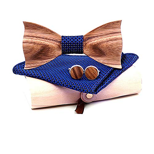Fourthomm Handmade 3D Zebra Holz Fliege Brosche Quadrat Schal Anzug Bräutigam Fliege Urlaub Geschenk Partei Fliege Leistung Kragen Blumenanzug (Stil 1)