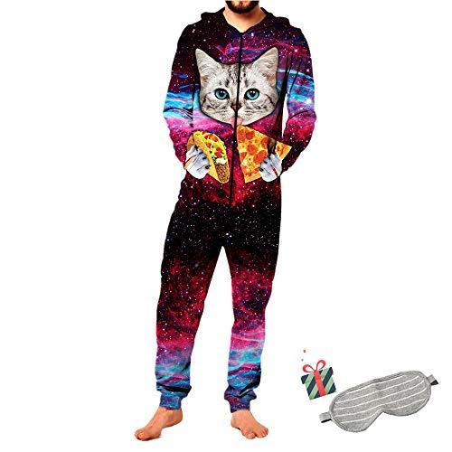 Morbuy Herren Jumpsuit Jogger, Damen Kapuzenpullover Strampelanzug 3D Printed Onepiece Sweatshirt Männer Strampler Weich Nachtwäsche Fitness Bekleidung Overall Trainingsanzug (M, Pizza Katze)